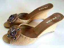 Prada Vintage Sandals Mules 40 10 Raffia Beige Leather Amethyst Stone Wedges
