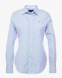 Ralph Lauren Womens Slim Fit Shirt Stretch Light Blue White Stripe
