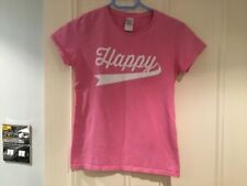 GILDAN HAPPY ADULT PINK T-SHIRT with HAPPY LOGO size S
