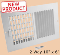 "Wall Ceiling Register 6"" x10"" Two Way AC Heat Conditioning Vent Duct White NEW"