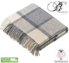 Bronte Block Windowpane White Grey Pure Soft Lambswool Blanket Throw Wool UK