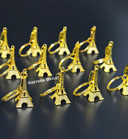 12 GOLD EIFFEL TOWER QUINCEANERA SWEET 16 FAVORS KEYCHAINS LOT RECUERDO WEDDING
