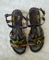 L'Artiste by Spring Step Women's Floral Poolside Tooled Leather Sandals 36