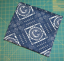 "1.5 Yards Navy White Geometric Denim Fabric Cotton 48"" Wide"