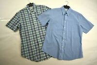 Brooks Brothers 1818 Mens Regent Blue Short Sleeve Button Down Shirts Lot of 2 M