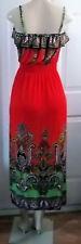 PAISLEY BORDER ELASTIC TOP LONG DRESS BRIGHT RED MAXI CRUISE