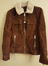 NWT EXPRESS Men's Suede Jacket SMALL Sherpa Collar Brown #6130