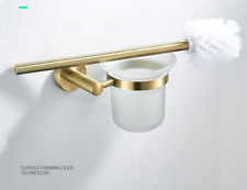 Modern Brushed Gold Brass+Glass Solid Bathroom Toilet Brush set Wall Mounted