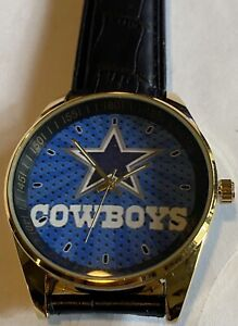 NFL Dallas Cowboys Leather Band Watch  In GOLD Color Style #5