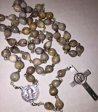 "Job's Tears rosary for difficult times ST.BENEDICT medallion 22"" made in Poland"