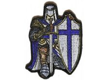 """(G22) BLUE CRUSADER KNIGHT 3.25"""" x 4.5"""" iron on patch (4903) Fantasy"""