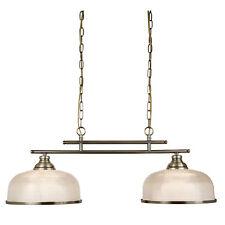 Searchlight Bistro II 2 Lights Antique Brass Halophane Glass Ceiling Bar Light