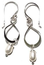 NEW SOLID 925 Sterling Silver Infinity White Freshwater Pearl Dangling Earrings
