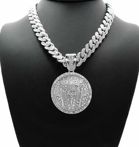 NBA YOUNGBOY 4KT PENDANT SILVER MIAMI CUBAN LINK CHAIN NECKLACE RAP ICED BLING