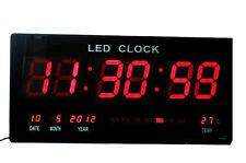 Reloj  digital pared medidor temperatura calendario fecha dia semana led rojo