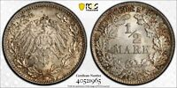 1916-D Germany Silver 1/2 Mark, KM-17, J-16, Lustrous BU Uncirculated, PCGS MS66