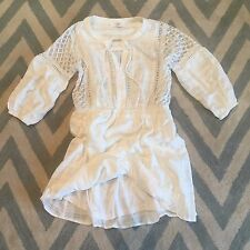 L New ANTHROPOLOGIE Women's White Boho Crochet & Lace Cotton Summer Dress LARGE