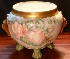 ANTIQUE JARDINIERE Floral, Gold Gilt, Lion Handles & Paw Footed