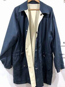 ERMENEGILDO ZEGNA Men's Reversible Rain Coat Jacket XL Navy Tan