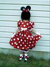 NEW Handmade Disney Minnie Dots Red Dress Custom Sz 12M-14Yrs