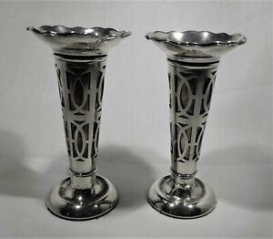 Antique sterling silver pair vases with inset liners. c 1918 Birmingham U.K.