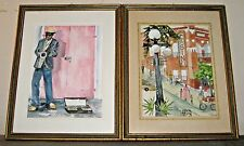 "2 Signed Jeanie Mcbyde Framed Watercolors Tampa Florida ""Ybor City"" & ""Sax Man"""