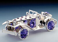 "SWAROVSKI CRYSTAL ELEMENTS ""Car"" FIGURINE - ORNAMENT SILVE PLATED"