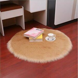 Round Sheepskin Carpet Living Room Rugs Floor Mat Plush Carpets Rug Home Decor
