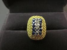 22k Solid Yellow Gold 5 Diamond And Blue Spinel Gemstone Ring Size 7.75
