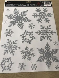 Silver Snowflake Reusable Christmas Glitter Stickers