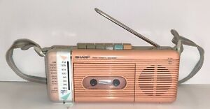 Vintage '80's Sharp Boombox AM/FM Radio Cassette Player  QT-5(P) Pink