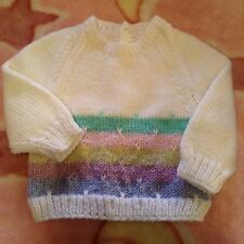 Beautiful New Hand Knitted Baby Jumper White Pink Mauve Blue 000 Soft & Warm