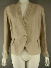 Linen Patternless Plus Size Button Coats & Jackets for Women