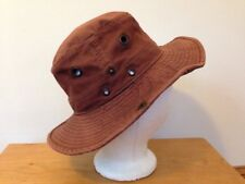 Vtg Dorfman Pacific Floater Outdoor Hat Brown 100% Cotton Canvas Broad Brim 22""