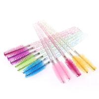 50pcs disposable eyelash brush with crystal rod eyebrow comb makeup brush