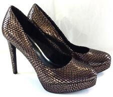 Jessica Simpson Womens 8.5 Heels Pumps Dress Shoes Gold Oval Polka Dot Slip On