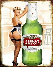 "10"" x 8"" STELLA ARTOIS BEER LAGER SEXY PIN UP GIRL METAL SIGN TIN PLAQUE N040"
