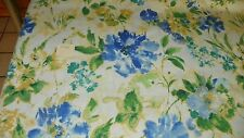 Cream Blue Gold Green Print Cotton Upholstery Fabric 1  Yard  F1326