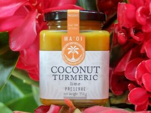 Coconut and turmeric preserve with lime, crafted in Polynesia