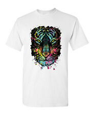 Neon Dripping Tiger Face T-Shirt Wildlife Rave Music Tee Shirt