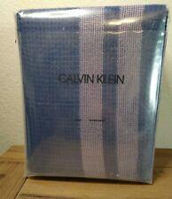 Calvin Klein Cobalt Blue George Shower Curtain + Pink Stripes 100% Cotton Waffle