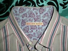 mens ted baker grey striped casual large shirt size 4 100% cotton made in turkey