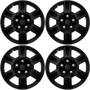 "4 PC SET Hub Cap ABS BLACK MATTE 16"" Inch for OEM Steel Wheel Cover Caps Covers"
