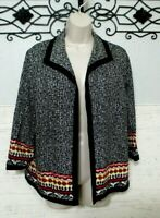 Alfred Dunner Blazer Size 14P Multi Colored 3/4 Sleeved Women's