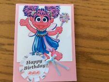 Birthday Card Abby Cadabby Silver Glitter Sparkle Pink Stones Ribbon Handmade