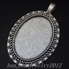 50236 Vintage Silver Alloy Oval Cameo Setting Base Charms Pendants Findings 20x