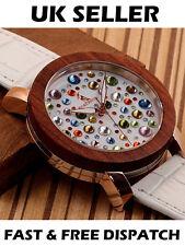 Pájaro Bobo lujo diseñador para Mujer Reloj de Madera de Madera Blanco Correa De Cuero Caja De Regalo