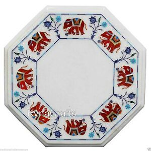 """Red Stone Inlay Work Bed Side Table Octagon White Marble Coffee Table Top 13"""""""