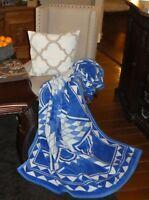 IBENA Vibrant Blue Jacquard Woven Cotton Blend Throw Blanket Quilting Star