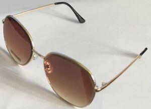Gold Tone Frame Grinding big Brown Lens Classic Sunglasses 60-19-145 B:55